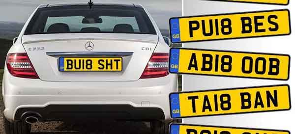 car showing banned plate example, with list of other banned plates to the side