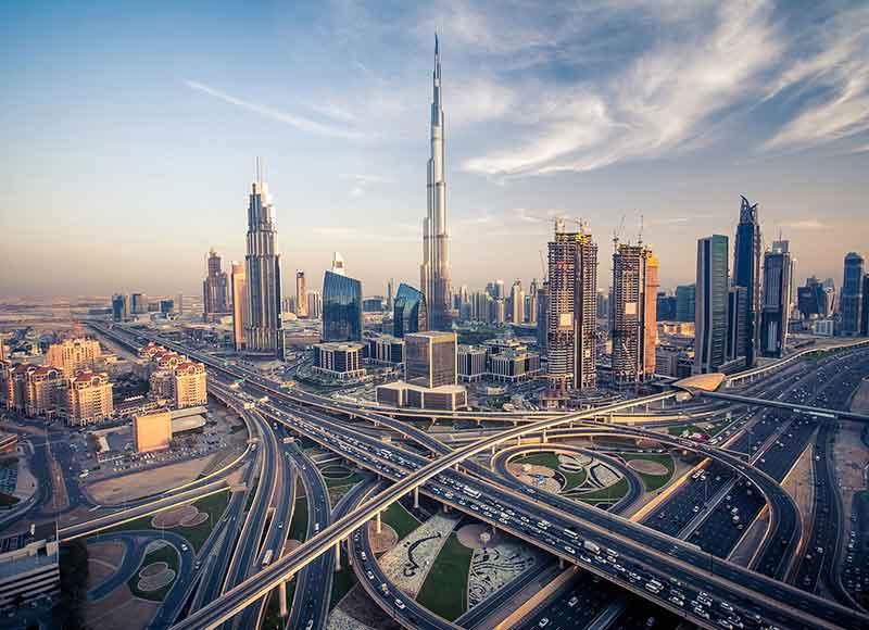 birds eye view of Dubai