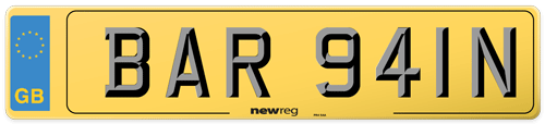 Number plate showing registration that reads BARGAIN