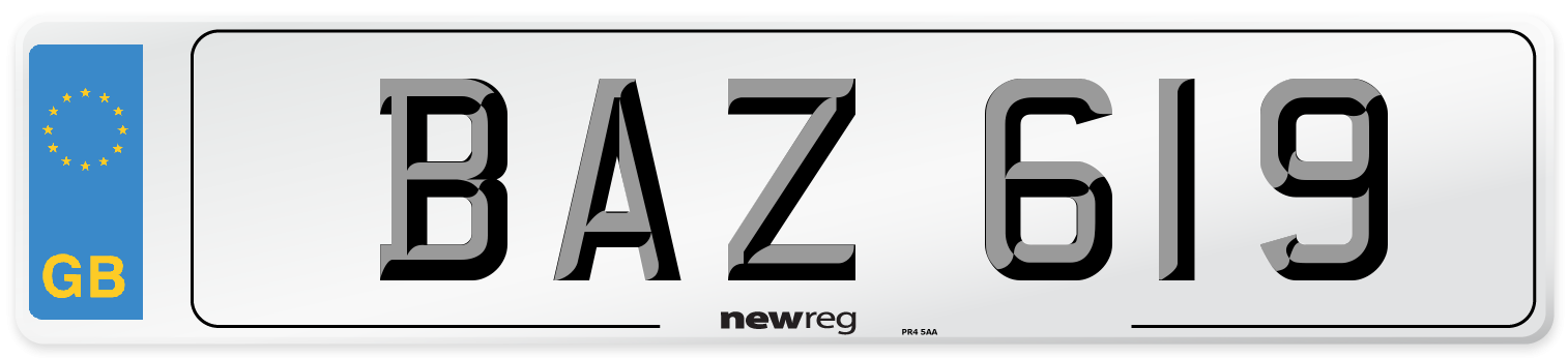 Northern Irish style number plate example displaying BAZ 619