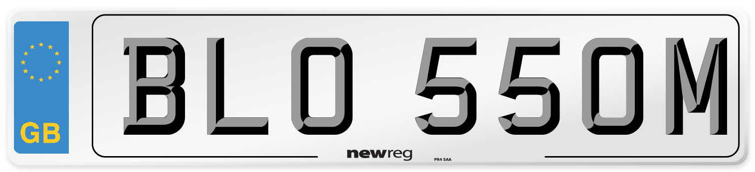 Suffix style number plate example displaying BLO 550M
