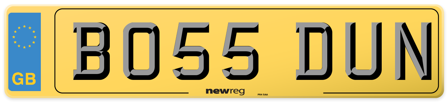 Current style number plate example displaying BO55 DUN