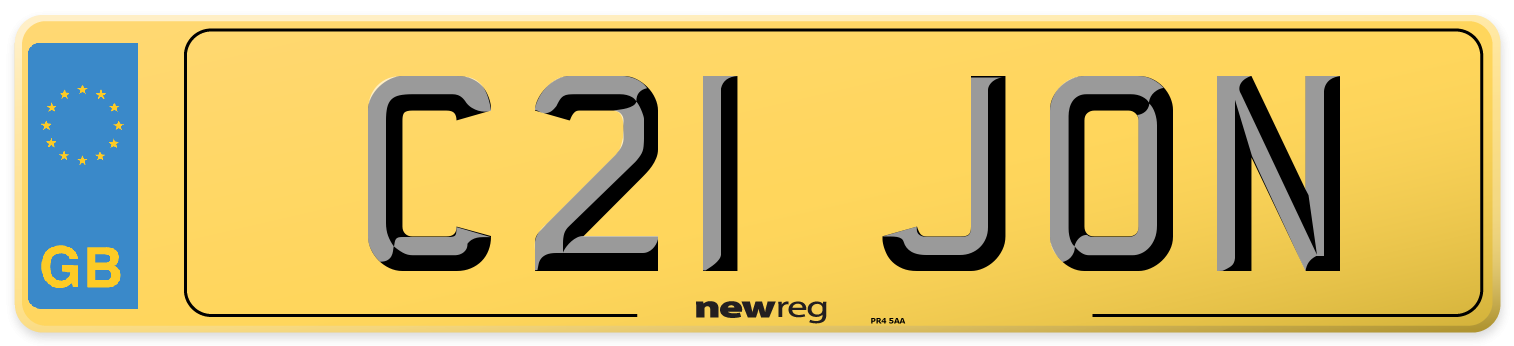 Prefix style number plate example displaying C21 JON