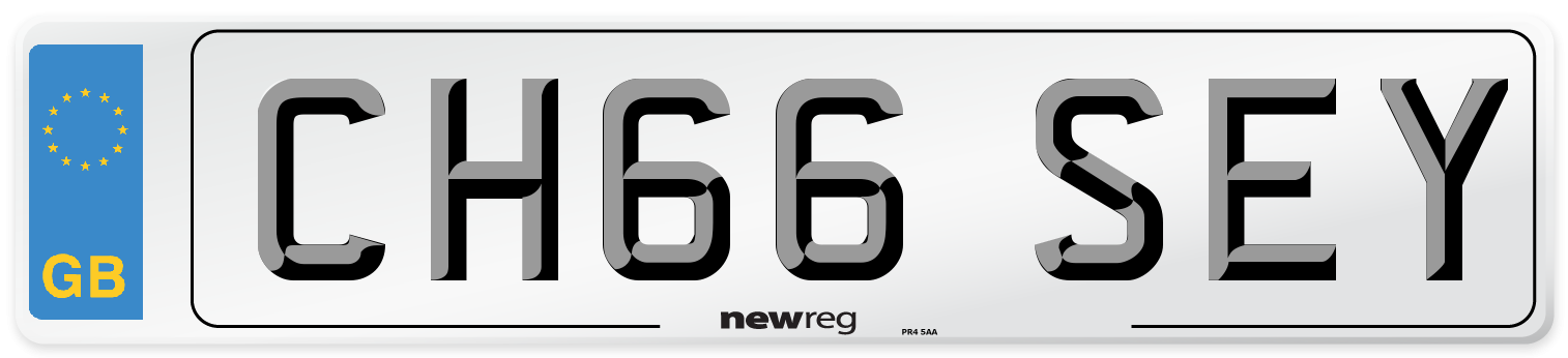 Current style number plate example displaying CH66 SEY1