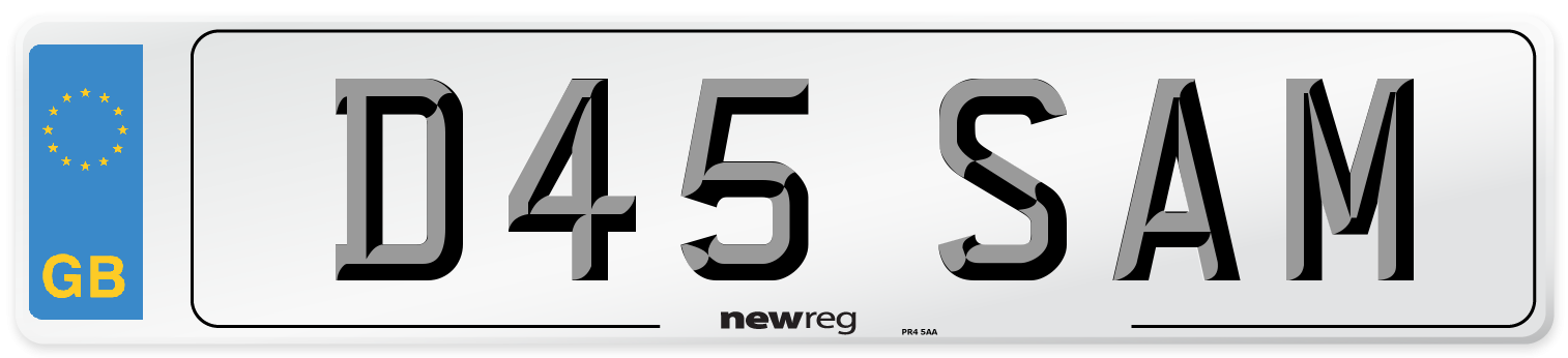 Prefix style number plate example displaying D45 SAM