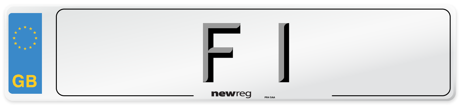 Dateless style number plate example displaying F 1