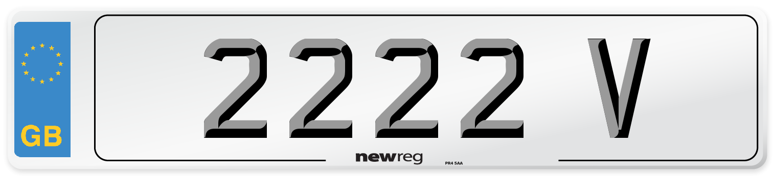 2222 V Number Plate from New Reg
