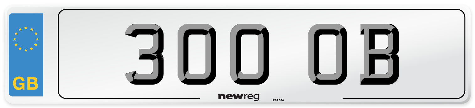 300 OB Number Plate from New Reg