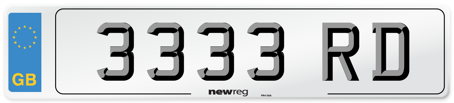 3333 RD Number Plate from New Reg