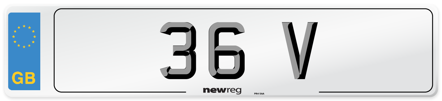 36 V Number Plate from New Reg
