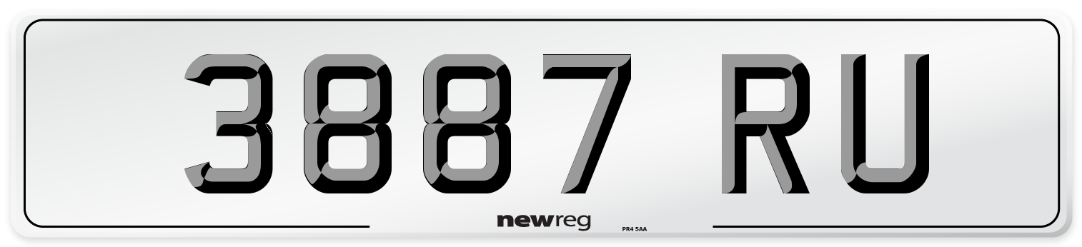 3887 RU Number Plate from New Reg