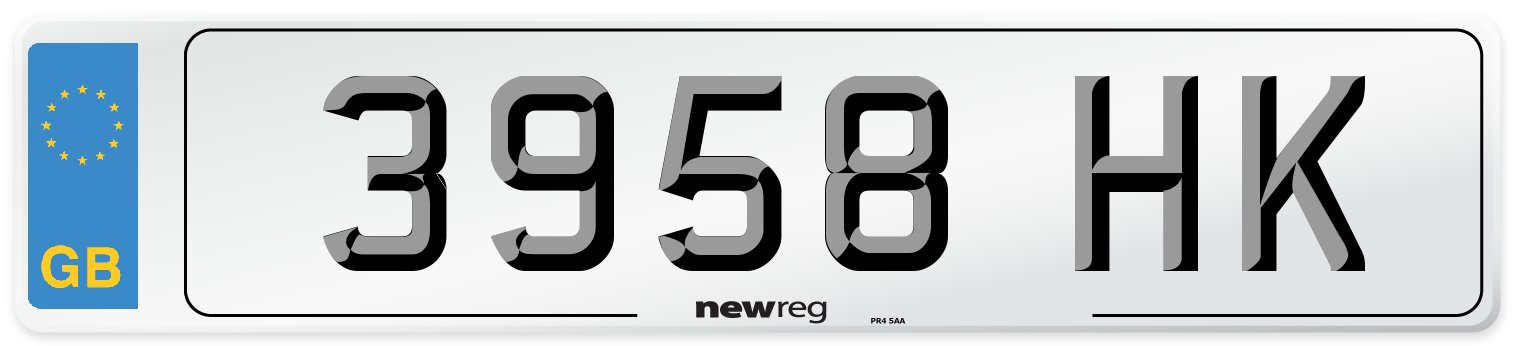 3958 HK Number Plate from New Reg