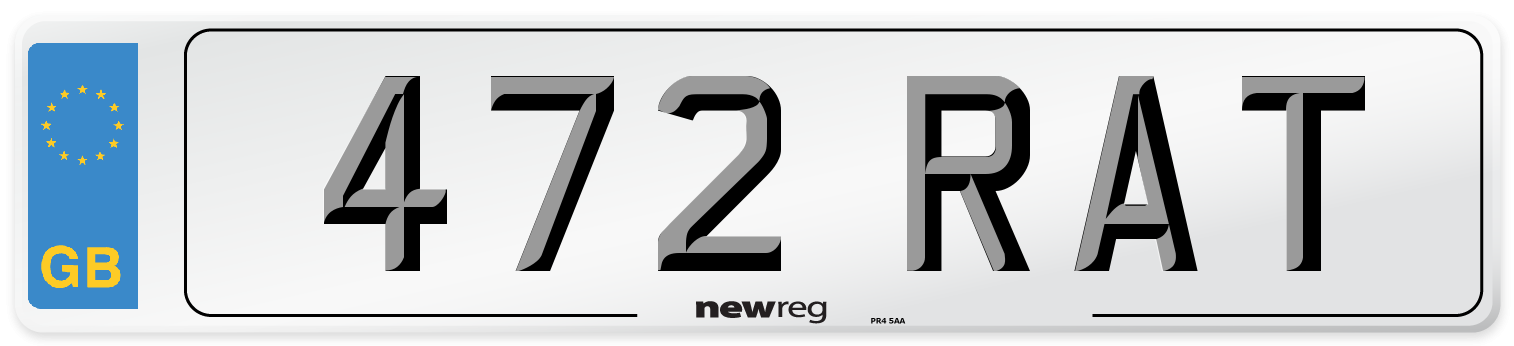 472 RAT Number Plate from New Reg
