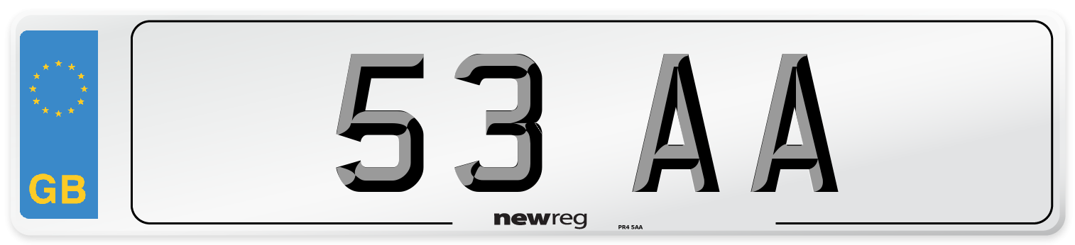 53 AA Number Plate from New Reg
