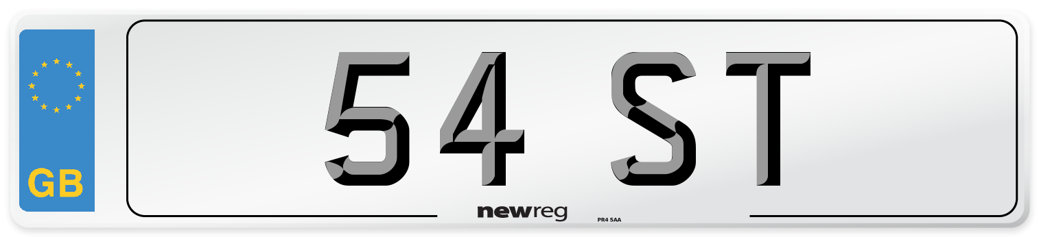 54 ST Number Plate from New Reg