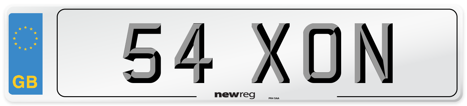 54 XON Number Plate from New Reg