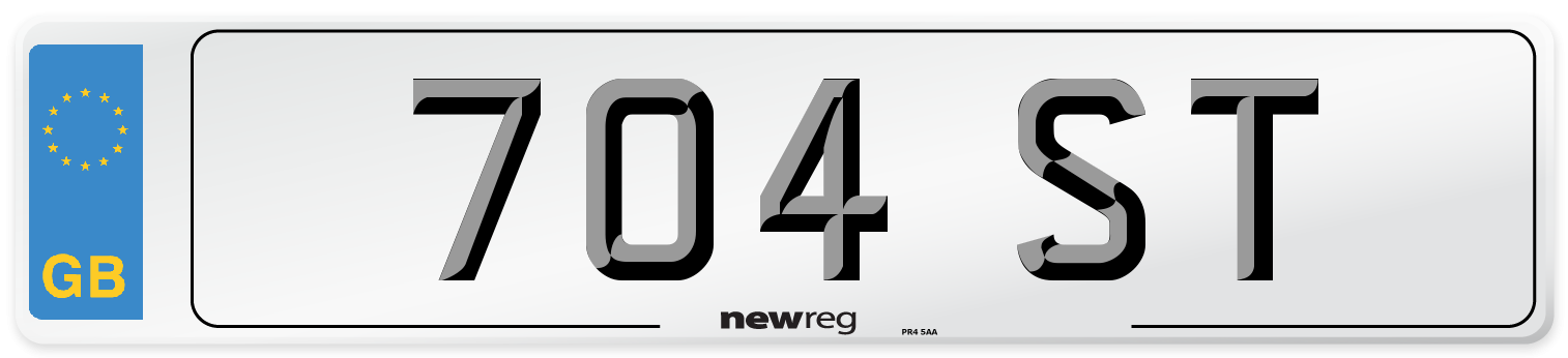 704 ST Number Plate from New Reg