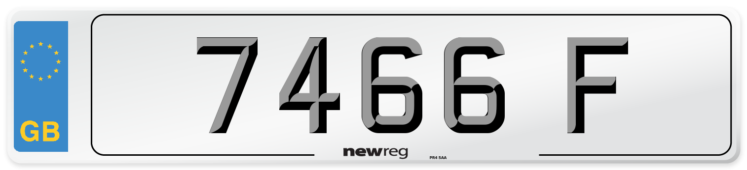 7466 F Number Plate from New Reg