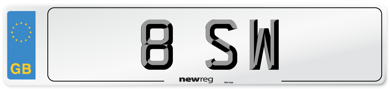 8 SW Number Plate from New Reg