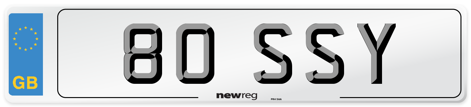 80 SSY Number Plate from New Reg