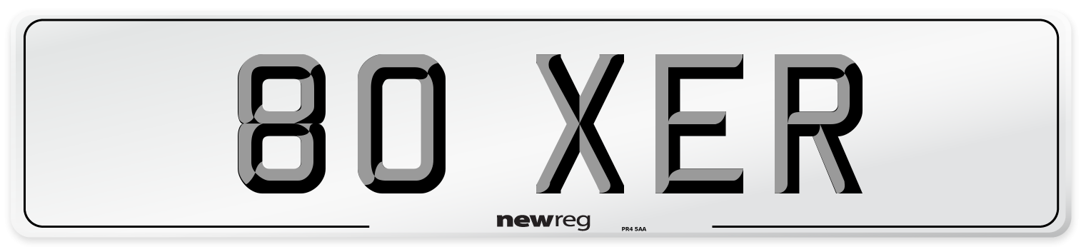 80 XER Number Plate from New Reg