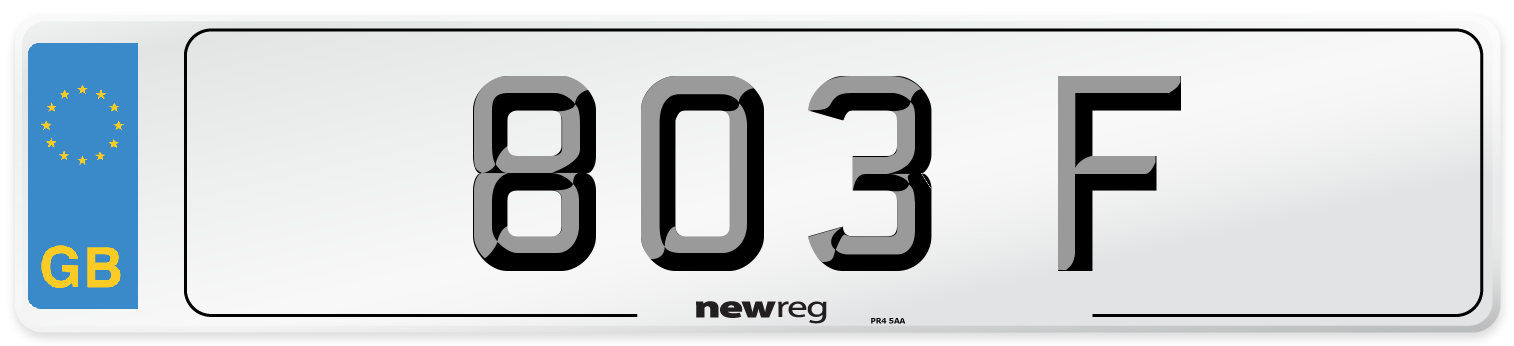 803 F Number Plate from New Reg