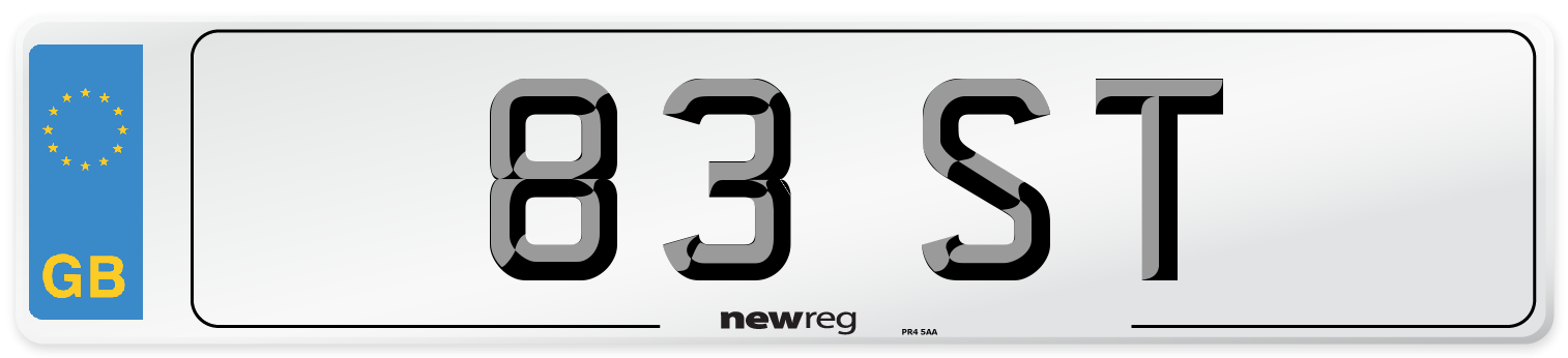 83 ST Number Plate from New Reg