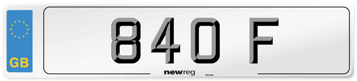 840 F Number Plate from New Reg