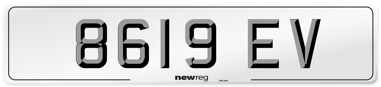 8619 EV Number Plate from New Reg