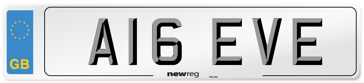 A16 EVE Number Plate from New Reg