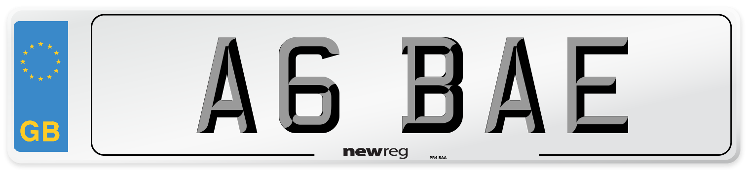 A6 BAE Number Plate from New Reg