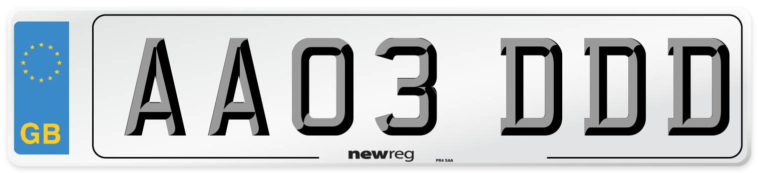 AA03 DDD Number Plate from New Reg