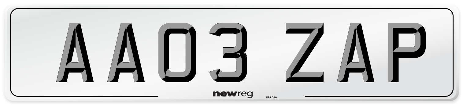 AA03 ZAP Number Plate from New Reg