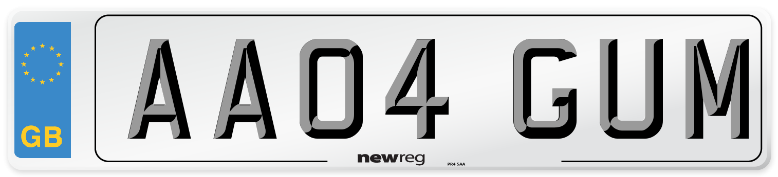 AA04 GUM Number Plate from New Reg