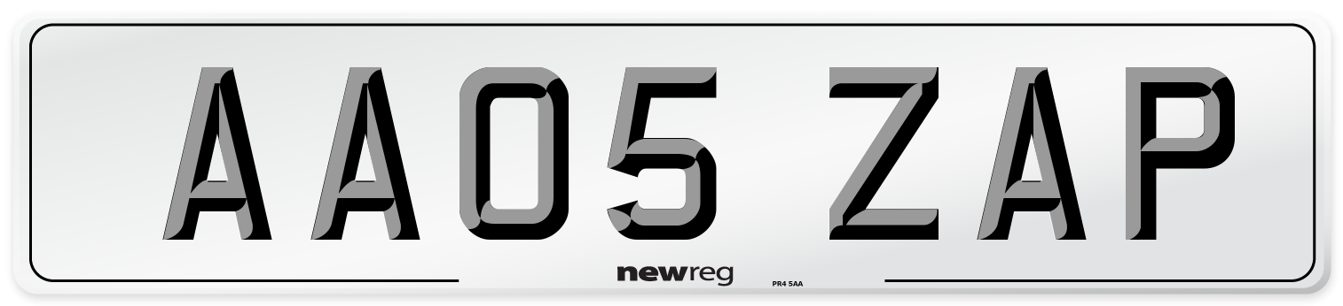 AA05 ZAP Number Plate from New Reg