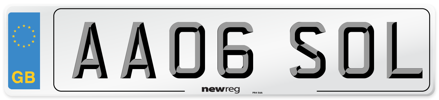 AA06 SOL Number Plate from New Reg
