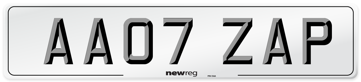 AA07 ZAP Number Plate from New Reg