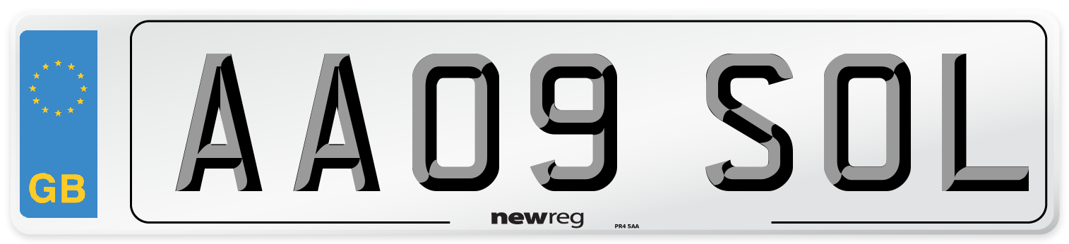 AA09 SOL Number Plate from New Reg