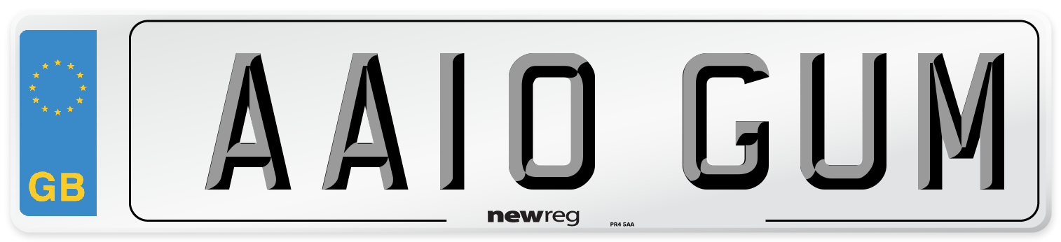AA10 GUM Number Plate from New Reg