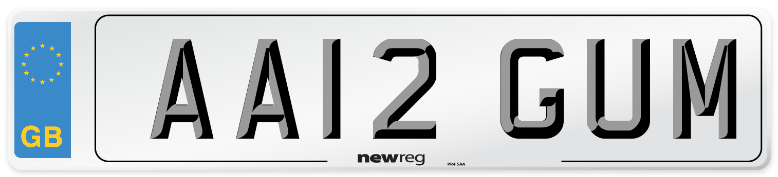 AA12 GUM Number Plate from New Reg