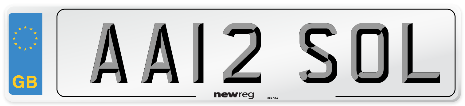 AA12 SOL Number Plate from New Reg