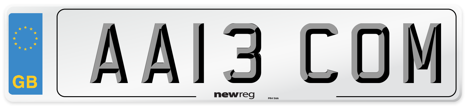AA13 COM Number Plate from New Reg