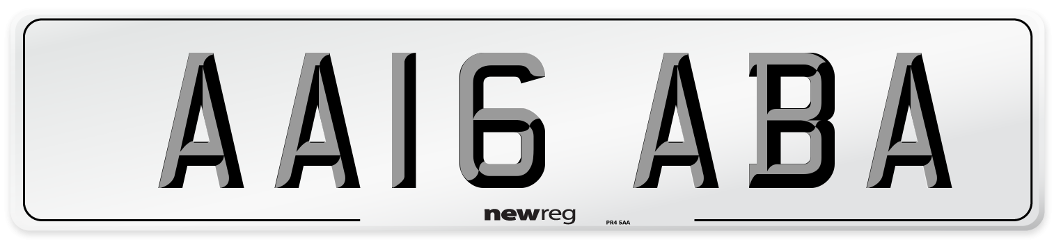 AA16 ABA Number Plate from New Reg