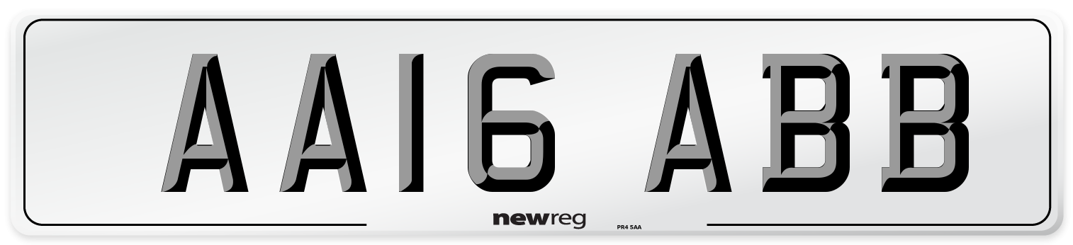 AA16 ABB Number Plate from New Reg