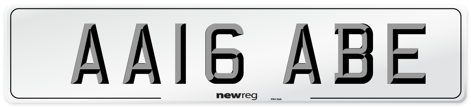 AA16 ABE Number Plate from New Reg
