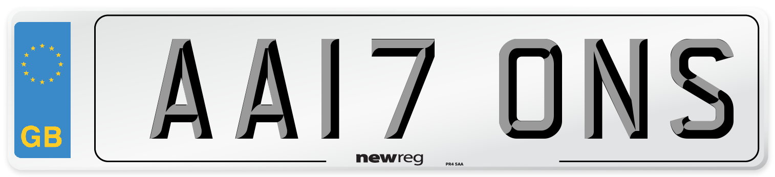 AA17 ONS Number Plate from New Reg