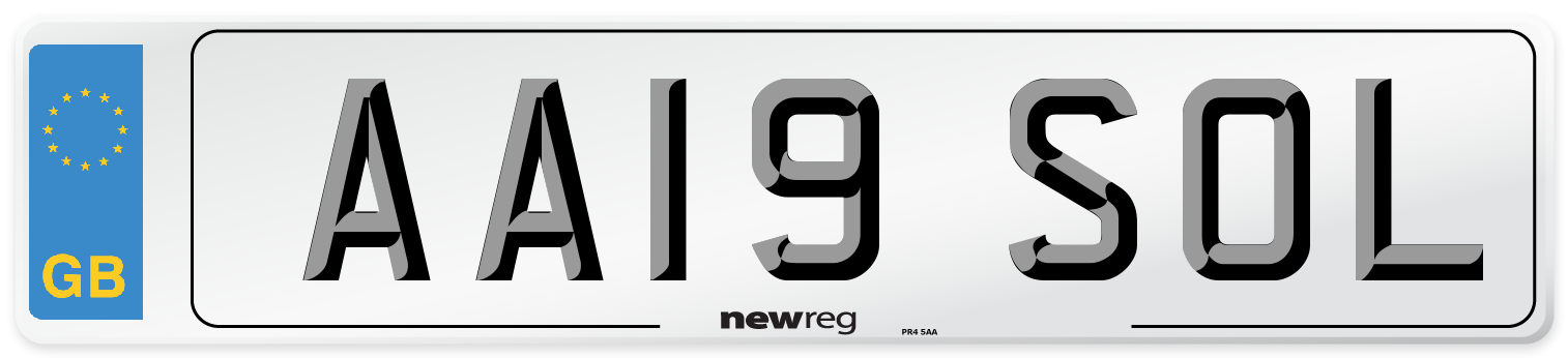 AA19 SOL Number Plate from New Reg