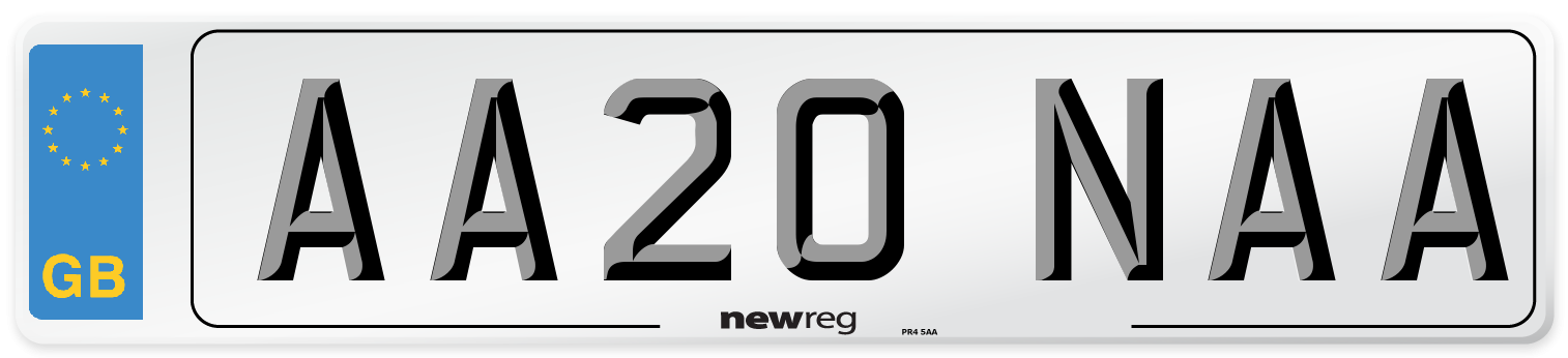 AA20 NAA Number Plate from New Reg