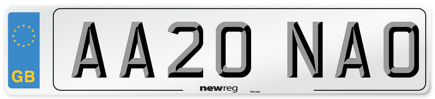 AA20 NAO Number Plate from New Reg