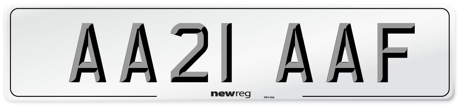AA21 AAF Number Plate from New Reg